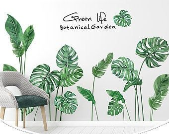 Fresh Green Medium Leaf Vinyl Wall Sticker Wall Decal Art Etsy En 2021 Decoracion De Paredes Pintadas Diseno De Pintura De Pared Pinturas De Pared Decorativas