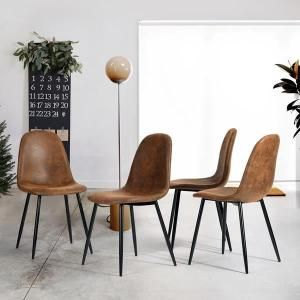 Furniturer Lot De 4 Chaise De Salle A Manger Avec Pieds En Metal
