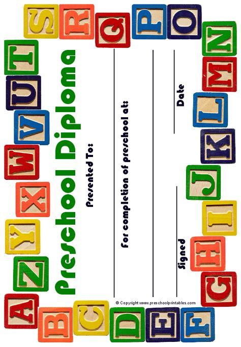 Printable Preschool diploma | Work: Infants-PreK | Preschool ...