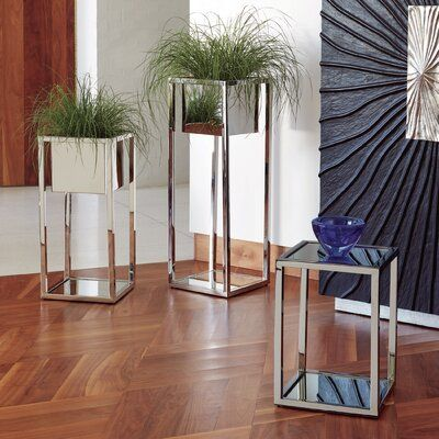 Global Views Escher Square Pedestal Plant Stand Wayfair In 2020 Plant Office Design Plant Stand Global Views