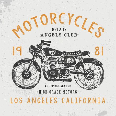 vintage motorbike illustrations on Behance