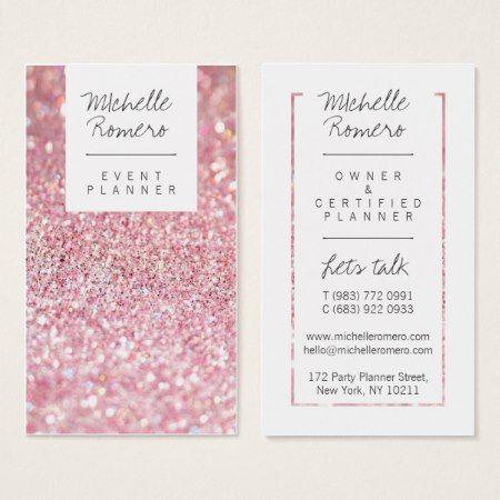 Modern Girly Faux Pink Glitter Bokeh Event Planner Business Card Zazzle Com Event Planner Business Card Party Planner Business Cards Event Planner Business Card Design