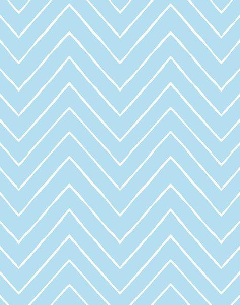 'Frances Chevron' Wallpaper by Wallshoppe - Baby Blue - Removable Panel