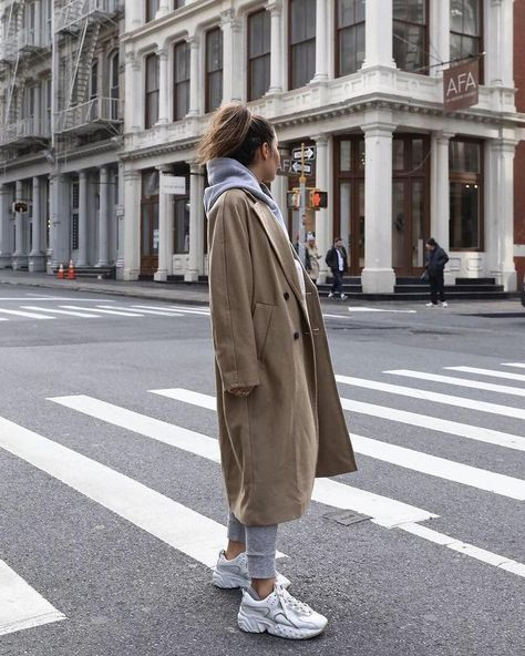 Shop All Women's Clothing -  Lily Montasser out and about in NYC wears the perfect coat and sweats combo. #outfitideas #nyc #streetstyle #camelcoat Source by baggagehouse  -