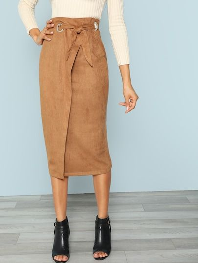 f1961a9e8ed1f Zip Back Tie Waist Wrap Skirt - love this style. Would be fantastic ...