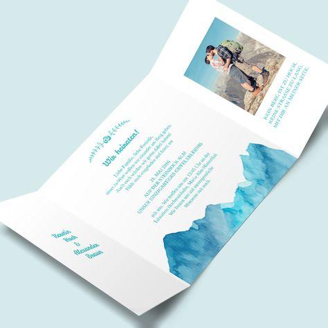 DIY-Hochzeitskarten mit Bergmotiv Hochzeitseinladungen: Berge versetzen jetzt in unserem Kartenshop selbst desingen.
