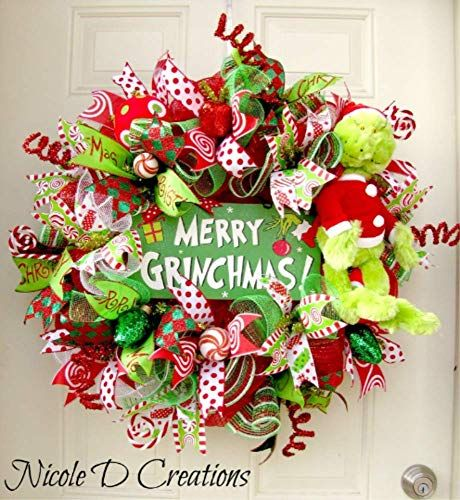 The Grinch Christmas Wreath- Holiday Wreath- Deco Mesh Wreath- Front Door Wreath Grinch Christmas Decorations, Christmas Mesh Wreaths, Whimsical Christmas, Grinch Christmas Party, Christmas Holidays, Christmas Tree Inspiration, Christmas Projects, Deco Mesh, Diy