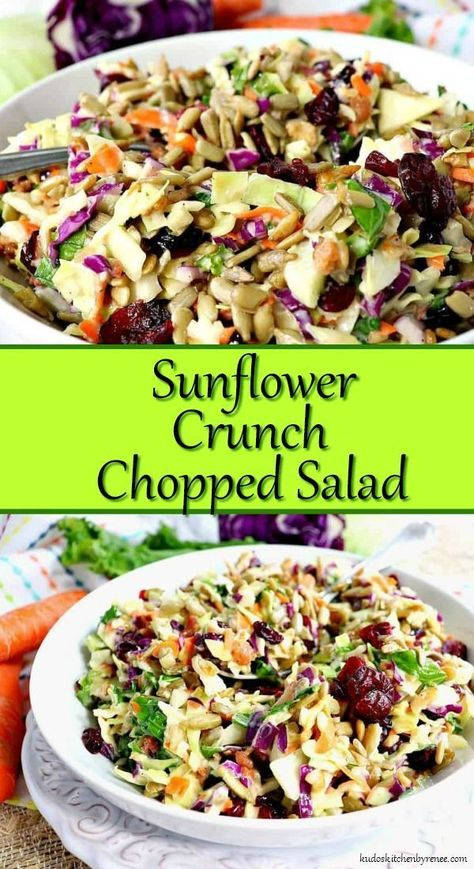 Crunchy, healthy, and completely addictive. This Sunflower Crunch Chopped Salad has it ALL going on! Crunchy, healthy, and completely addictive. This Sunflower Crunch Chopped Salad has it ALL going on! Kale And Cabbage Recipe, Cabbage Salad Recipes, Chopped Salad Recipes, Healthy Salad Recipes, Vegetarian Recipes, Dinner Salad Recipes, Chopped Salads, Simple Salad Recipes, Lettuce Salad Recipes