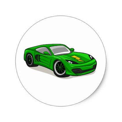 Green Car Cartoon Car Racing Tuning Car Classic Round Sticker