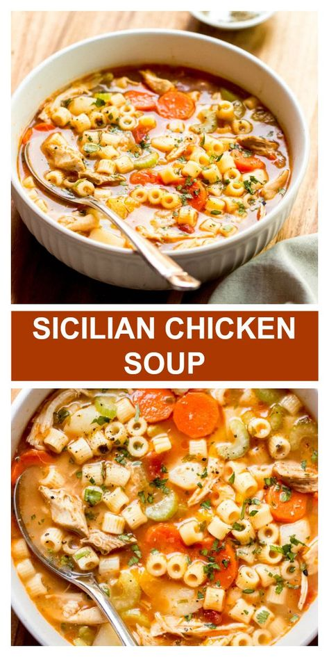 Dump and Go Sicilian Chicken Soup - Little Broken - Food - Cozy Italian chicken noodle soup. It's a set it and forget recipe made on the stovetop. So easy! Best Soup Recipes, Healthy Recipes, Crockpot Chicken Soup Recipes, Chicken Soups, Healthy Soup, Healthy Chicken, Crockpot Italian Chicken, Chicken Thighs Soup, Chicken Barley Soup