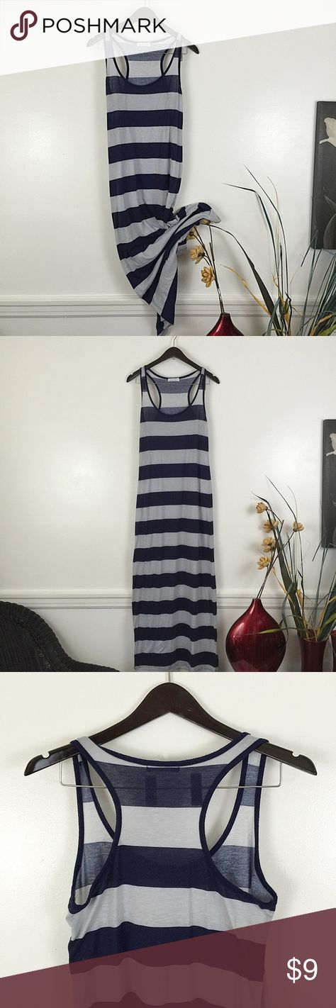 """Navy & Coral Stripped Long Maxi Dresses Sz Medium 2 Navy & Coral Stripped Long Maxi Dresses Sz Medium. Comfy figure flattering dresses. Ankle length at 5""""6. Both Gently worn. Buyer receiveds both. Wet Seal Dresses Maxi"""