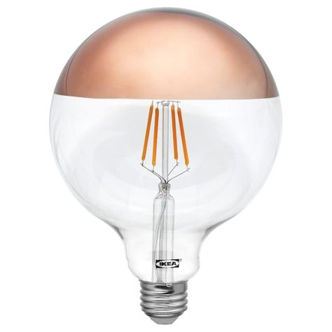 Ikea Sillbo Led Bulb E26 370 Lumen Globe Mirrored Top Bronze Household Organising In 2019 Bulb Ikea Lighting