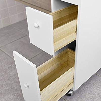 Sobuy Frg51 W Meuble De Rangement A Roulettes Wc Porte Papier Toilettes Porte Brosse Wc Armoire Roulante Avec 2 Tiroirs Blanc Amazon F Home Shelves Decor