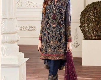 Women salwar suit eastern embroidered salwar kameez kurti shirt trouser Pakistani Indian Bengali desi attire Eid ladies suit 3 Piece Dress