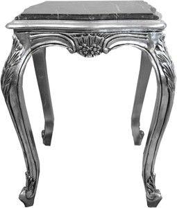 Casa Padrino Barock Beistelltisch Silber Mit Schwarzer Marmorplatte 52 X 52 X H 65 Cm Barockmobel Beistell Tisch Beistell Barock Mobel Beistelltische Barock