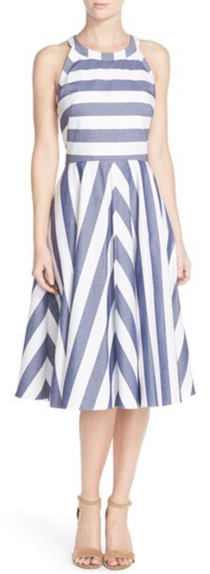 Fit & flare Bold Strip Vintage-Inspired Summer Dress