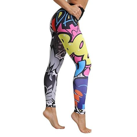 omens Workout Gym Stampa Pantaloni sportivi Leggings Fitness Stretch Pants