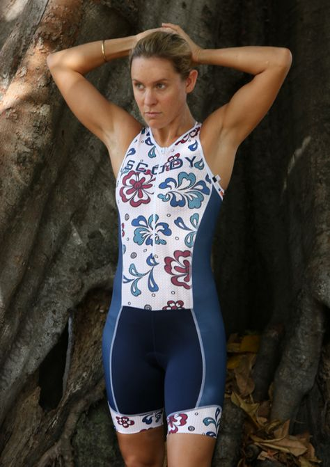 9380bb59db9 Sarah Crowley Professional Long Distance Triathlete wearing SCODY Lace Navy  Performance Triathlon Suit