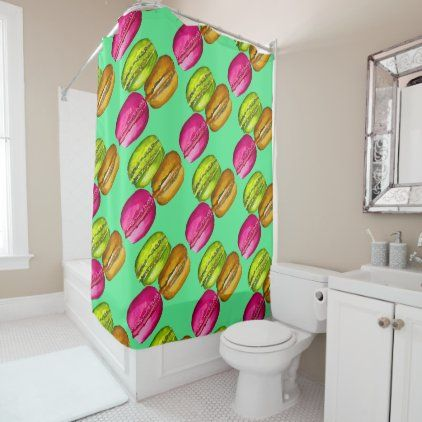 Colorful Macarons Watercolor Art Funky Shower Curtain In 2020