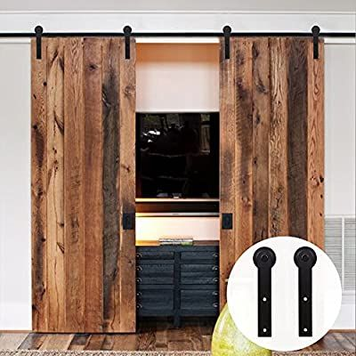 Lwzh 11ft Sliding Barn Door Hardware Kit For Double Door Sliding Interior Door Track Set Black I Sha In 2020 Sliding Barn Door Hardware Door Hardware Sliding Barn Door