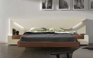 Lacquered Made In Spain Wood Luxury Platform Bed Discount