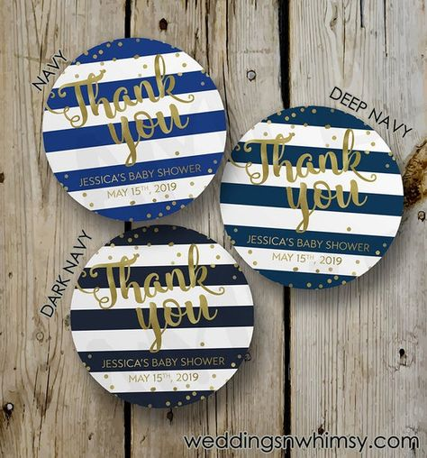 Faux Gold Foil & Navy Stripes Bridal Shower Thank You Label, Custom Navy and Gold Bridal Shower Stic