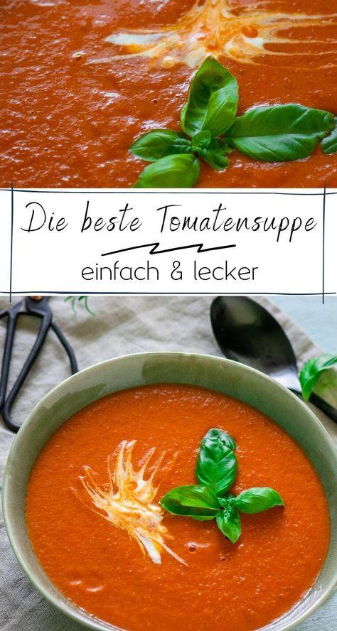 Es ist die beste Tomatensuppe, die ich je gegessen habe - sie schmeckt so gut und wirklich einfach zuzubereiten. Die Tomaten werden mit Kräutern und Knoblauch im Ofen geröstet - probiere es aus!