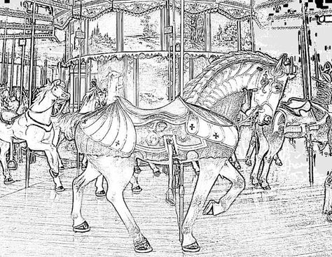 These Are Realistic Coloring Pages Of Carousel Horses Volume 5 Included Separate High Quality PDF Images For You To Download And Print Out Please