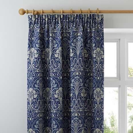 Lucetta Navy Pencil Pleat Curtains Pleated Curtains Curtain