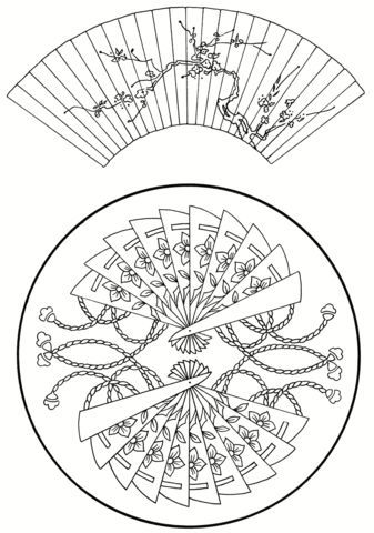 Japanese Fans Coloring Page Japanese Embroidery Coloring Pages