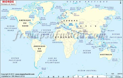 Ocean Du Monde Carte Continents Et Oceans Carte Du Monde Carte