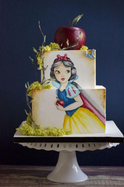 Snow white - cake by Vanilla & Me Gorgeous Cakes, Pretty Cakes, Cute Cakes, Amazing Cakes, Crazy Cakes, Fancy Cakes, Snow White Cake, Snow White Cupcakes, Hand Painted Cakes