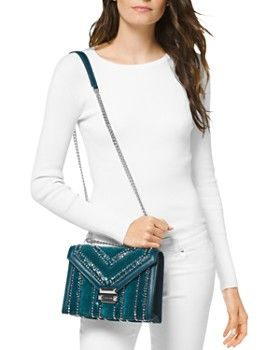 MICHAEL Michael Kors - Whitney Large Studded Leather Shoulder Bag ...
