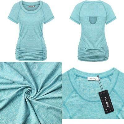 Ninedaily Womens Workout Top Running Yoga Shirt Summer Short Sleeve Casual Tunic