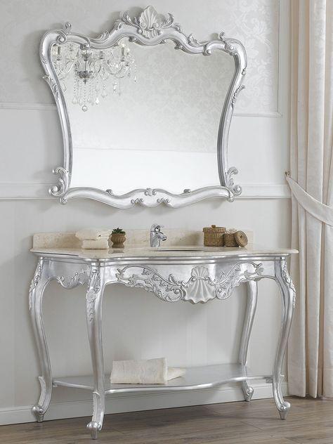 Consolle E Specchiera.Consolle E Specchio Stile Barocco Foglia Argento Con