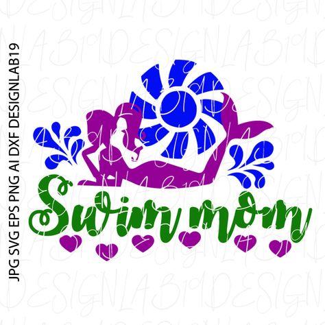 Swim Mom Swimmer Swimming Team Lessons Mermaid Ariel Triton Siren Ocean Sea Beach Summer Vibes Vacation Little Girl Daughter Sun Sand Waves Personalized Stamps Create Birthday Invitations Swim Mom