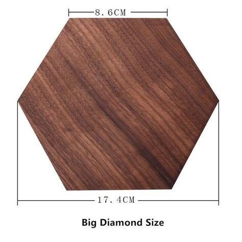 Dark Walnut Wood Jewelry Display Blocks - Big Diamond