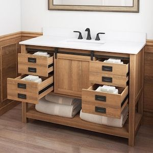Style Selections 48 In Brown Single Sink Bathroom Vanity With White Engineered Stone Top Lowes Com In 2020 Single Sink Bathroom Vanity Bathroom Vanity Bathroom Sink Vanity