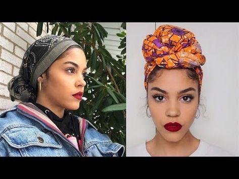 4 Ways I Tie My Head Wraps Scarf Turbans Video Scarf Hairstyles Hair Scarf Styles Hair Wrap Scarf
