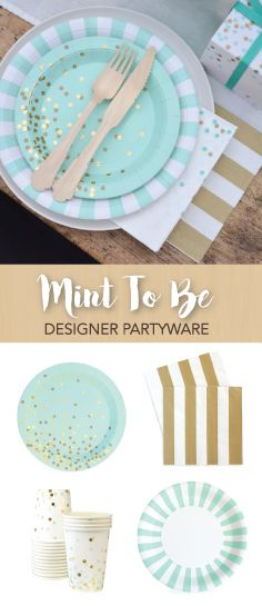 One of Our Best-Selling Collections; Mint To Be by Paper Eskimo. This Chic Look is Perfect for Baby Showers, Birthday Parties and Bridal Showers   PaperEskimo.com