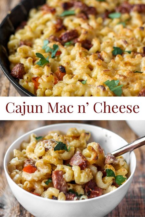 Cajun Mac and Cheese - Cajun seasoned mac and cheese is a spicy and zesty macaroni and cheese recipe. Spicy Mac And Cheese, Cheddar Mac And Cheese, Mac And Cheese Homemade, White Cheddar, Mac Cheese, Sausage Mac And Cheese Recipe, Cheddar Cheese Recipes, Macaroni Cheese Recipes, Cajun Recipes