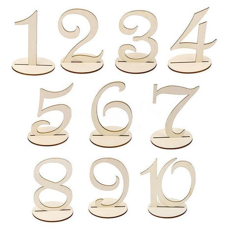 10Pcs Table Number Wooden Stick 1-20 Set with Base For Wedding Birthday Party