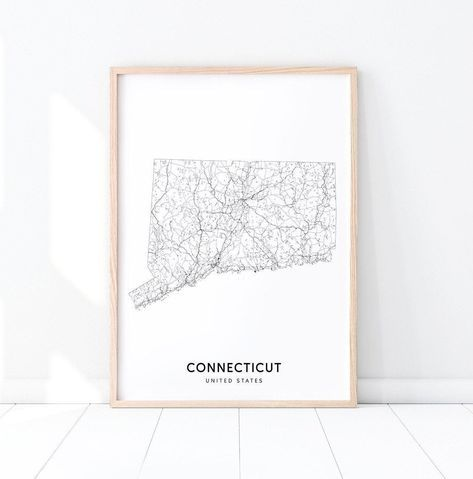 Connecticut Map Print State Road Map Art Connecticut Usa United States Map Art Poster Modern Wall Art Home Offi In 2020 United States Map Art State Map Art Map Art