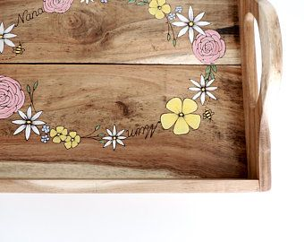 Wooden Tray Personalised Wooden Tray Rustic Wooden Tray With Handles Wooden Tray Uk Reclaimed Wood Tray Flowers Pyrograph Arte Em Madeira Artesanato Moveis