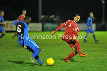Kieran Leabon goes in for a tackle as Needham Market lost to Chatham