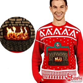 Knitted Crackling Fireplace Ugly Christmas Sweater