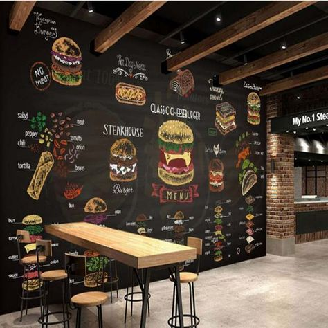 Online Shop Custom mural Hand painted colored chalk Burger picture mural Custom kitchen fast food shop cafe wallpaper | Aliexpress Mobile