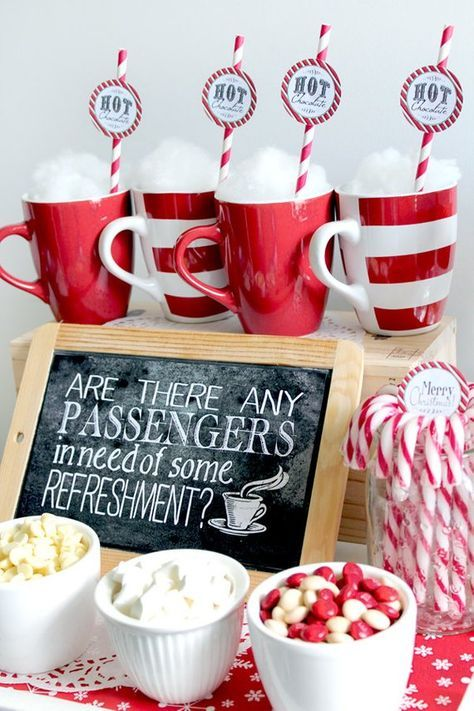 Christmas Party Breakfast Themes For Kids 2020 Polar Express Poster Refreshments Chalkboard Style   INSTANT