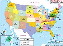 US 50 States Abbreviation Map | maps | Pinterest | Us state map, Usa ...