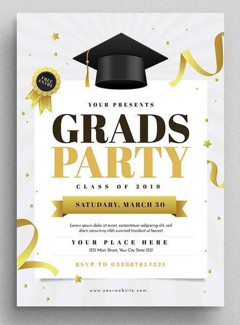 Graduation Party Flyer Template AI, PSD